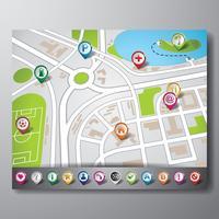 Vector kaart illustratie met aanwijzer set.
