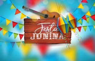Festa Junina-illustratie met akoestische gitaar, partijvlaggen en papieren lantaarns