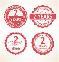 Twee jaar garantie retro vintage badge en labels-collectie vector