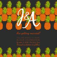 Bewaar de datum, bruiloft uitnodigingskaart met retro ananas