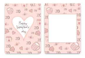 Verzameling van roze wit gekleurde Valentijnsdag kaart vector