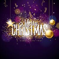 Vrolijke Kerstmisillustratie op glitteryachtergrond