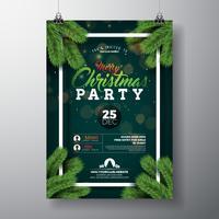 Kerstfeest flyer ontwerpen vector