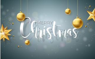 Vrolijk kerstfeest illustratie op grijze achtergrond