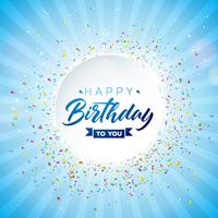 Happy Birthday Vector Design met vallende confetti
