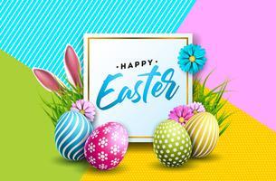 Illustratie van Happy Easter Holiday met beschilderde eieren vector