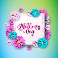 Moederdag wenskaart met bloem op roze achtergrond vector