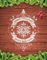 Geschilderde uitstekende Vrolijke Kerstmis en Gelukkig Nieuwjaar typografisch ontwerp met rode glasbal