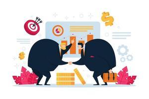 zakenmensen zijn verwikkeld in een gesprek tijdens een bedrijfsvergadering. vector