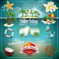 Vector zomer vakantie pictogrammenset op blauwe zee achtergrond.