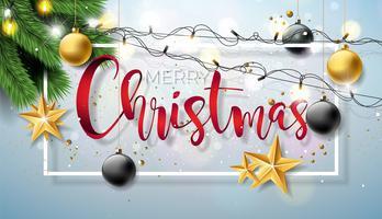 Vrolijke Kerstmisillustratie op Glanzende Achtergrond