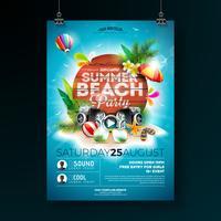 zomer beach party flyer ontwerp