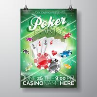 Vector partij flyer ontwerp op een casino thema met chips en spel kaarten op groene achtergrond.