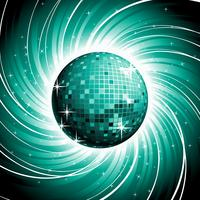 Vector discoball op glanzende blauwe grungeachtergrond.