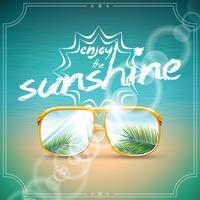 Vectorillustratie op een thema van de de zomervakantie met zonnebril