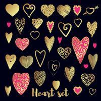 Set van goud en roze sierlijke hart vector