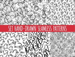 Set van vier naadloze abstracte handgetekende patroon,