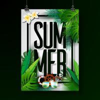 Zomer vakantie typografische illustratie op witte achtergrond
