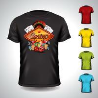 Vectordiet-shirt op een thema van de casinovakantie met het gokken elementen wordt geplaatst.