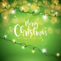 Vrolijk kerstfeest vakantie licht Garland vector