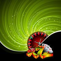 Gokkende illustratie met casinoenementen op grungeachtergrond.