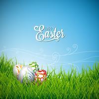 Pasen-illustratie met kleur geschilderde eieren op de lenteachtergrond