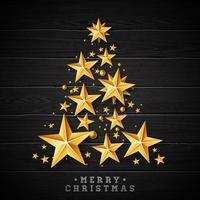 Kerstmis & Nieuwjaar illustratie met kerstboom