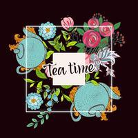 Tijd om thee te drinken. Trendy poster