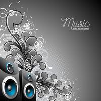 Vector speakerbox met grunge floral elementen op een donkere achtergrond.