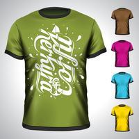 Vectort-shirt met de zomerillustratie van de zomer van Korfu wordt geplaatst.