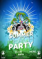 Vector zomer Beach Party Flyer Design met luidsprekers