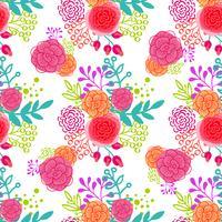 Helder roze rozen naadloos patroon vector