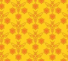 Naadloos patroon met oranje bijen in Monoline-stijl. vector