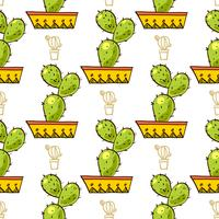 Naadloos patroon van cactussen en succulents in potten. vector