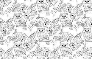 Ransuil. Een naadloos patroon in de handgetekende stijl.