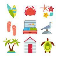 Vlakke pictogrammen set van reizen