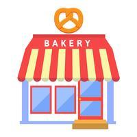 Bakkers in vlakke stijl winkel of winkel gebouw vector