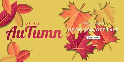 gele herfst verkoop achtergrond sjabloonontwerp vector