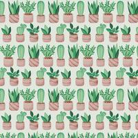 Vector potplanten naadloze patroon