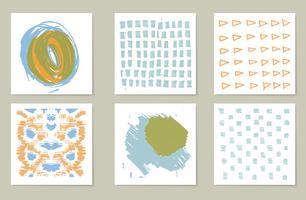 Handgetekende verzameling van 6 journaling-kaarten. structuur vector