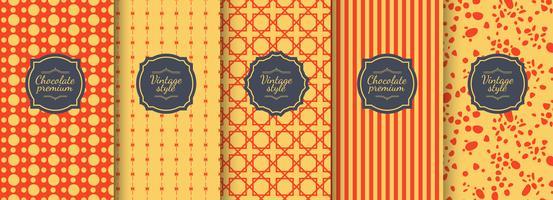 Set van rode vintage naadloze achtergronden voor luxe verpakking ontwerp. vector