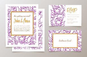 Een set van kantoorartikelen voor bruiloften uitnodiging, vector