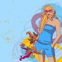 zomer meisje in retro stijl