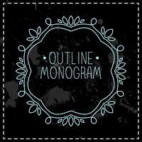 vintage frame monolijn vector