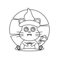 zeer fijne tekeningen kleurboek heks kat vector