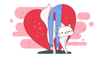 kat liefde vector