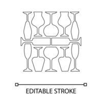 wijnglazen lineaire pictogram vector