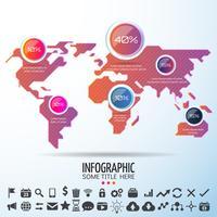 Wereldkaart Infographics ontwerpsjabloon vector