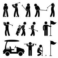 Golf Golfer Swing Caddy Caddy Pictogram.