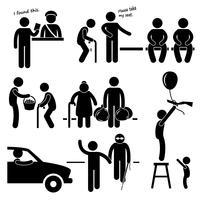 Vriendelijke goedhartige man helpt mensen stok figuur Pictogram pictogram.